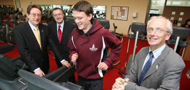 Pictured at the launch of NUI Galway's B.E. in Sports & Exercise Engineering were (left-right) the University President, Dr James J. Browne; Professor Ó Laighin, Head of Electrical & Electronic Engineering at NUI Galway and Course Director; one of the first students on the new course, Ruaidhrí Molloy; and John Treacy, CEO of the Irish Sports Council.